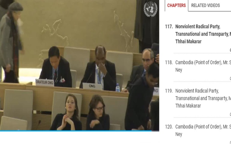 Cambodian member of the Nonviolent Radical Party has speech disrupted at the UN Human Rights Council